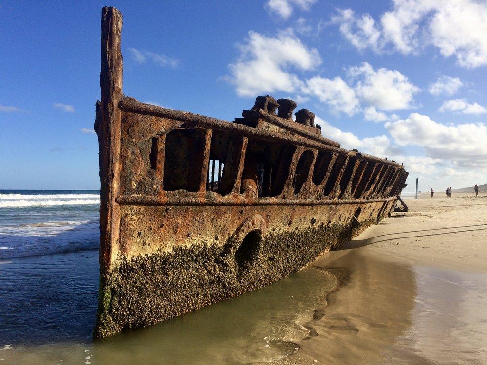 Maheno Shipwreck on the shores of Fraser Island.
