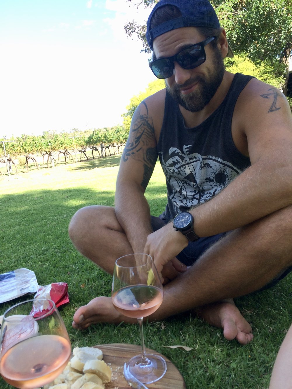 Picnic in the vines at Happs Winery.