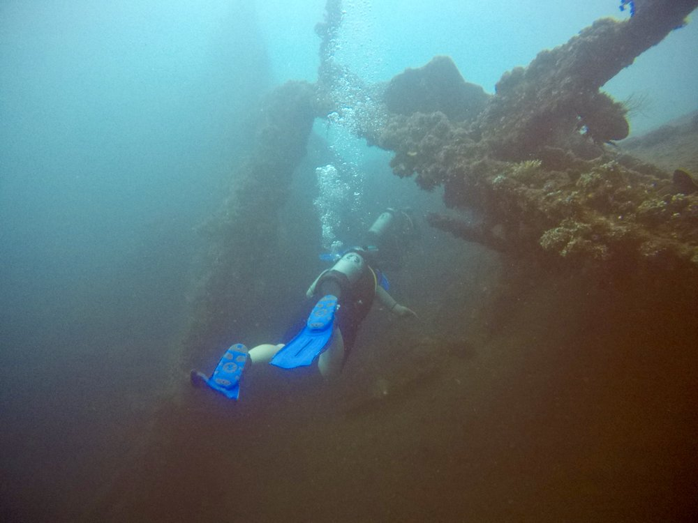 Shore diving the wreck at Tulamben.