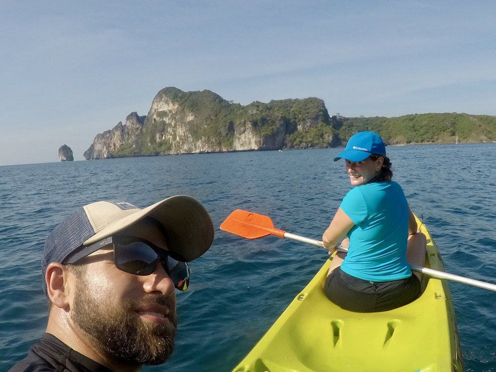 Kayaking to Monkey Beach - though the tide was so low we probably could have walked…