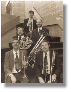 Max with members of the Metropolitan Opera Orchestra brass section