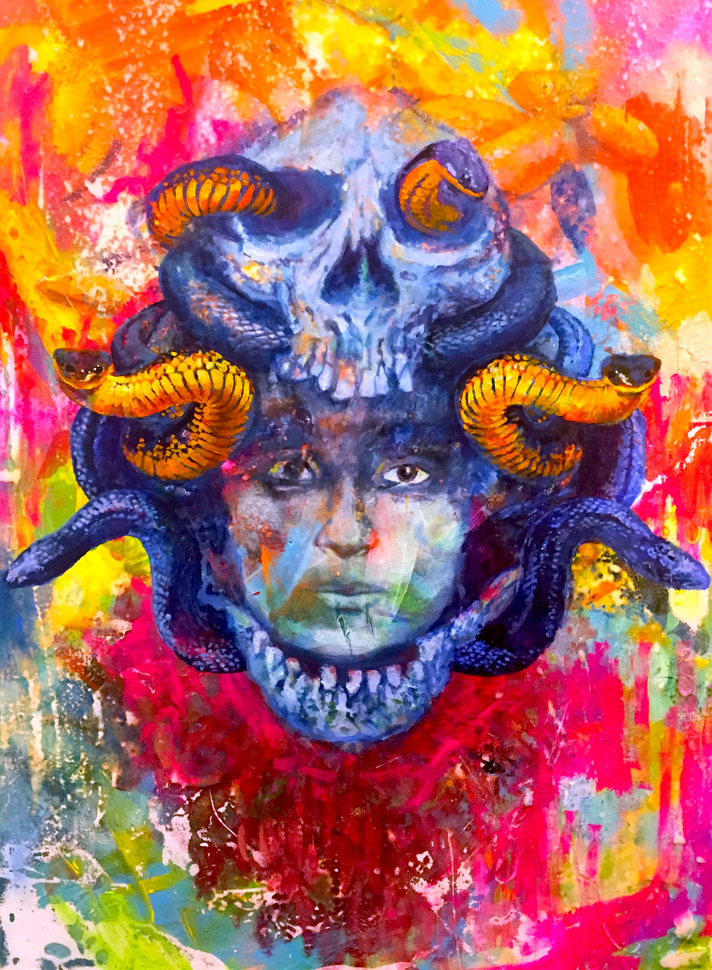 "Medusa (sold) 24"" x 36"" Totem Women Series."