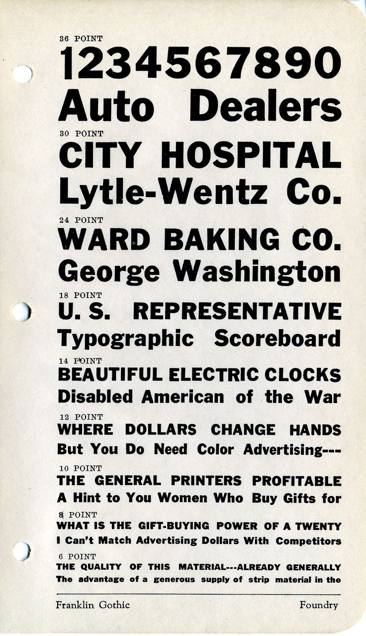 Franklin Gothic type specimen.