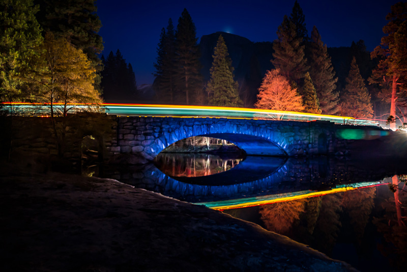 <b><i>Half Dome Above Stoneman Bridge, Yosemite Valley Lights,</b></i> Michael Wooten
