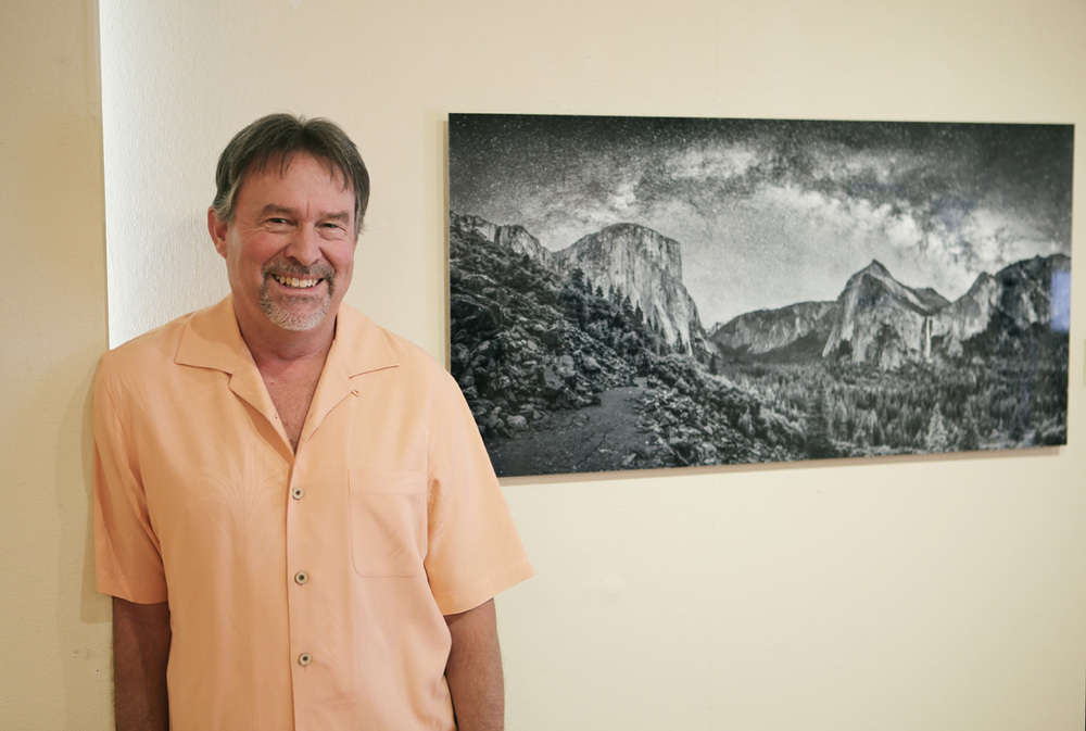 """Rick Whitacre and his art, photography on metal, """"While the Valley Sleeps"""""""
