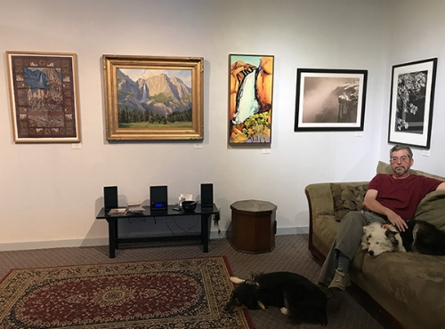 YR Director Jon Bock, Sheila Gallery Dog, and Juno Care Bear Dog at Gallery 5
