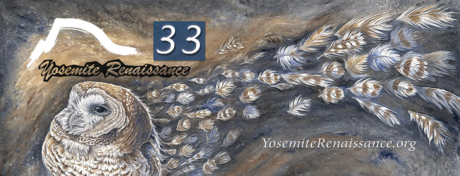 Rachel Ivanyi, Permanence? The California Spotted Owl, Watercolor, on display at Yosemite Renaissance 33 Exhibition