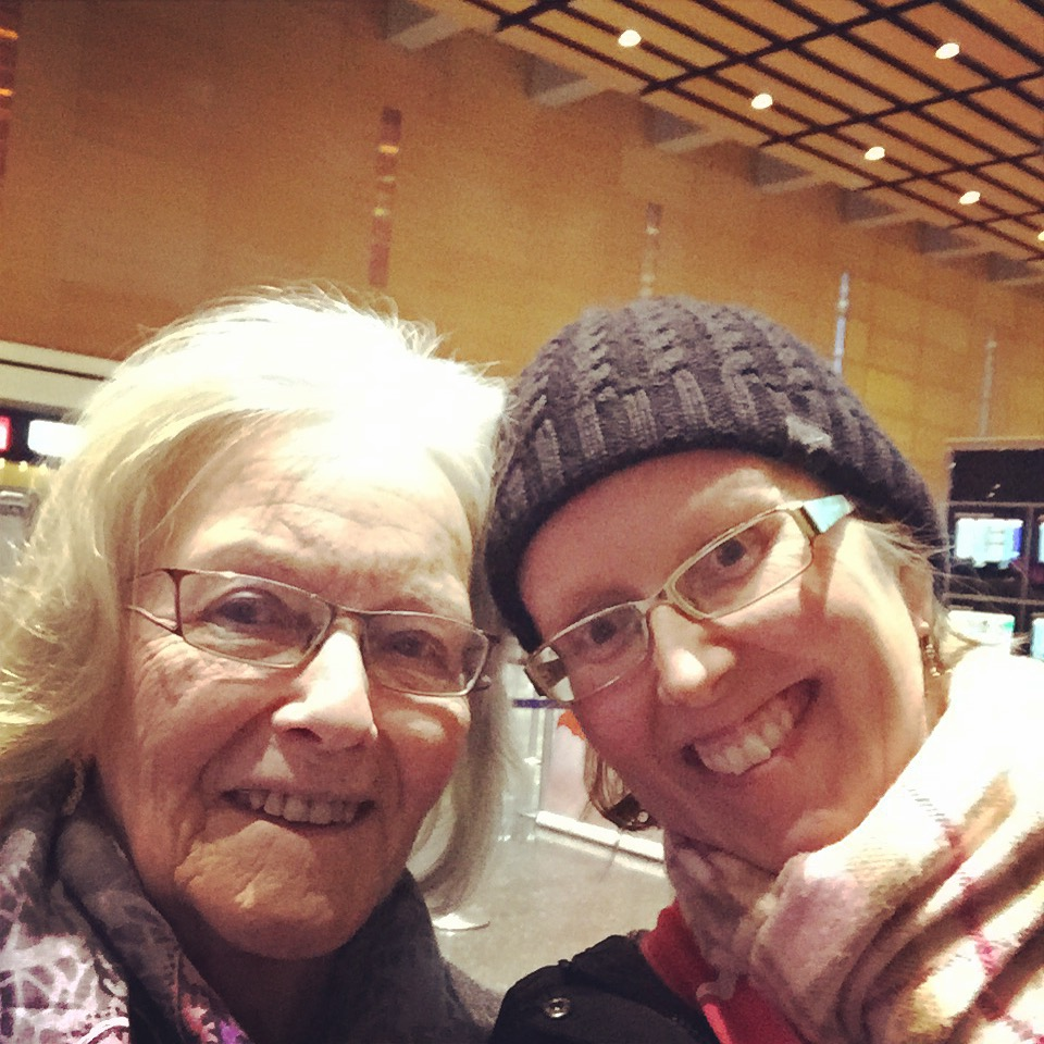 My mum and I at Logan airport January 2015 when she was leaving back to Finland after visiting us. This is the most recent picture of us together. A quick phone selfie but I will cherish it and will print it.