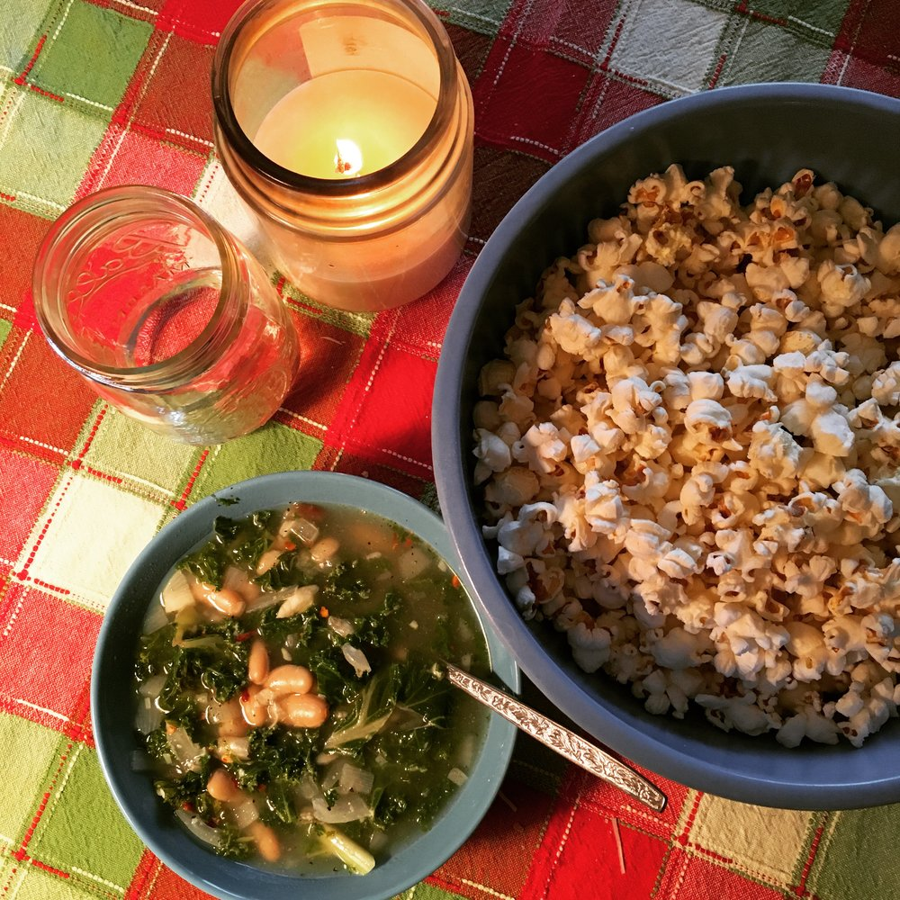 Kale and Bean Soup with a side of homemade stove-cooked popcorn.