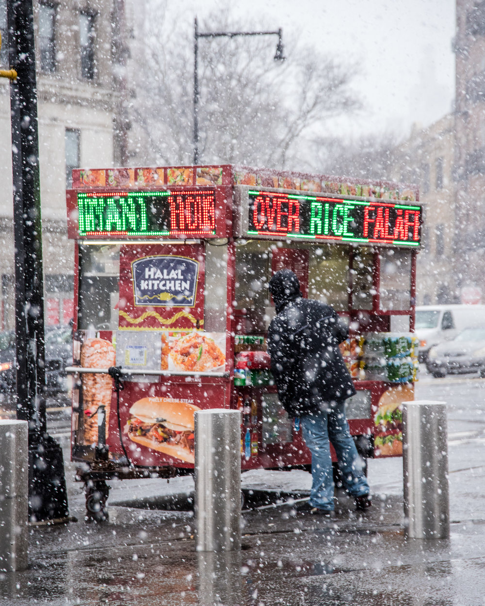 Snow over rice falafel. 2018.