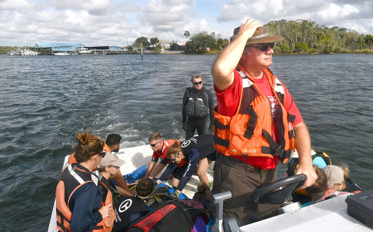 U.S. Fish and Wildlife Capt. Jody Pack drives his boat, complete with workers and a manatee, toward the shore where the animal will be quickly offloaded and studied before being released back into King's Bay. (Matthew Beck)