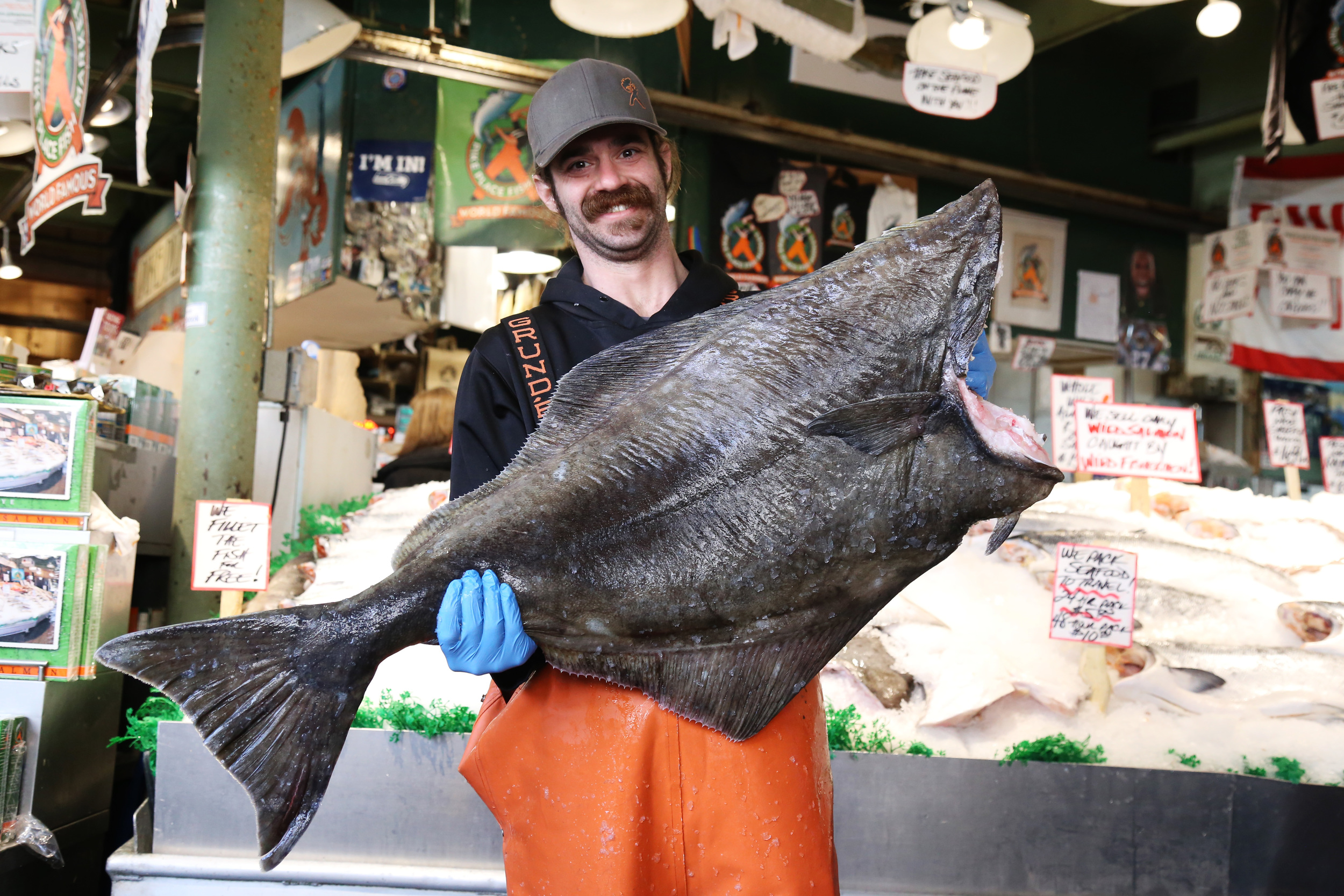 Halibut season at pike place fish rain or shine guides for Halibut fishing seattle