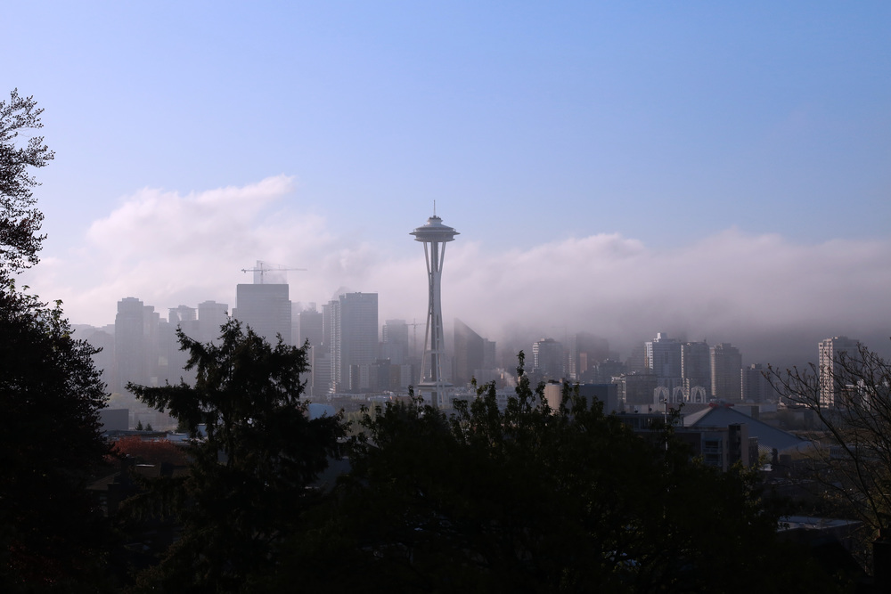 The view from Kerry Park during a foggy sunrise.