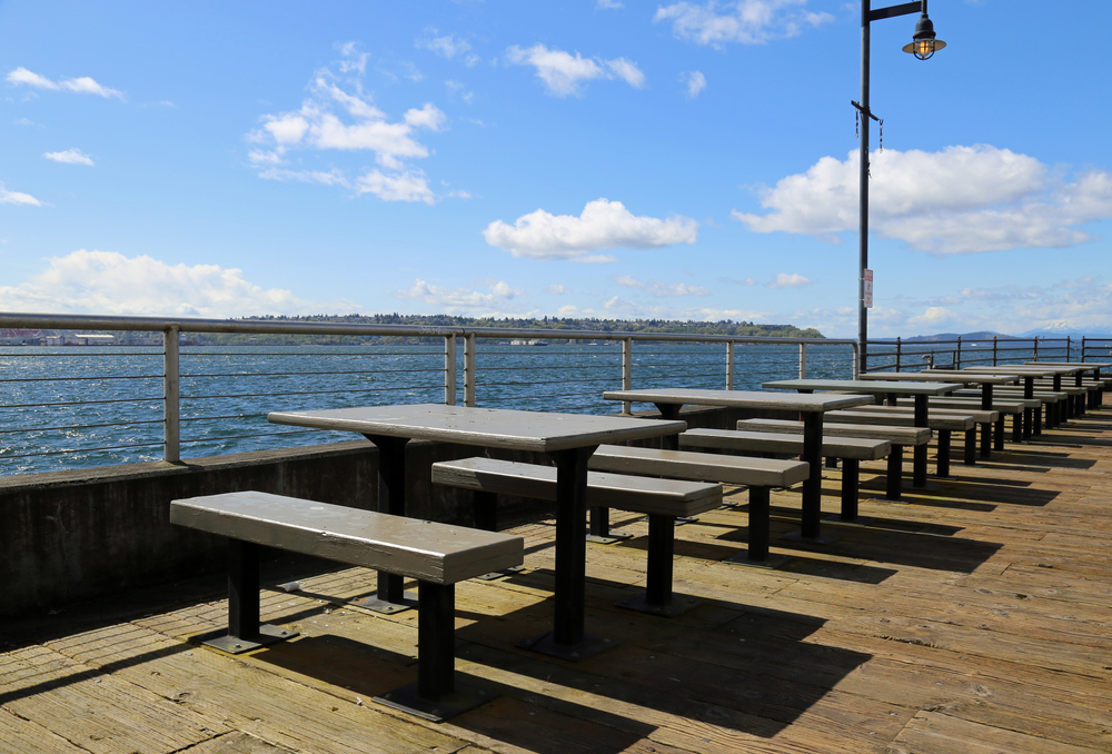Picnic tables that come with a view.