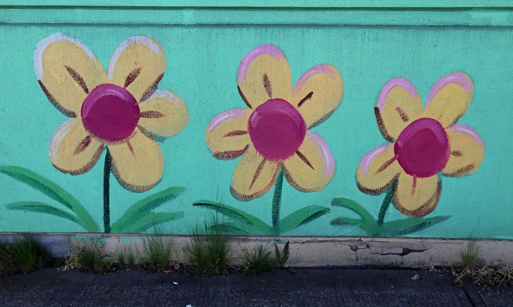 Flower details at the Value Village mural