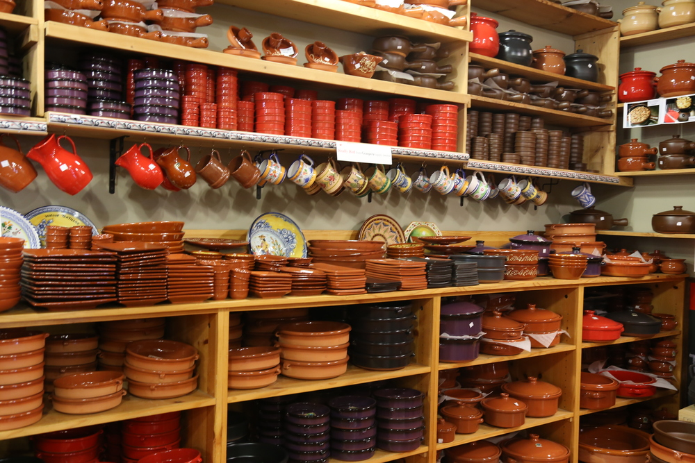 Stacks and stacks of amazing pottery at The Spanish Table.