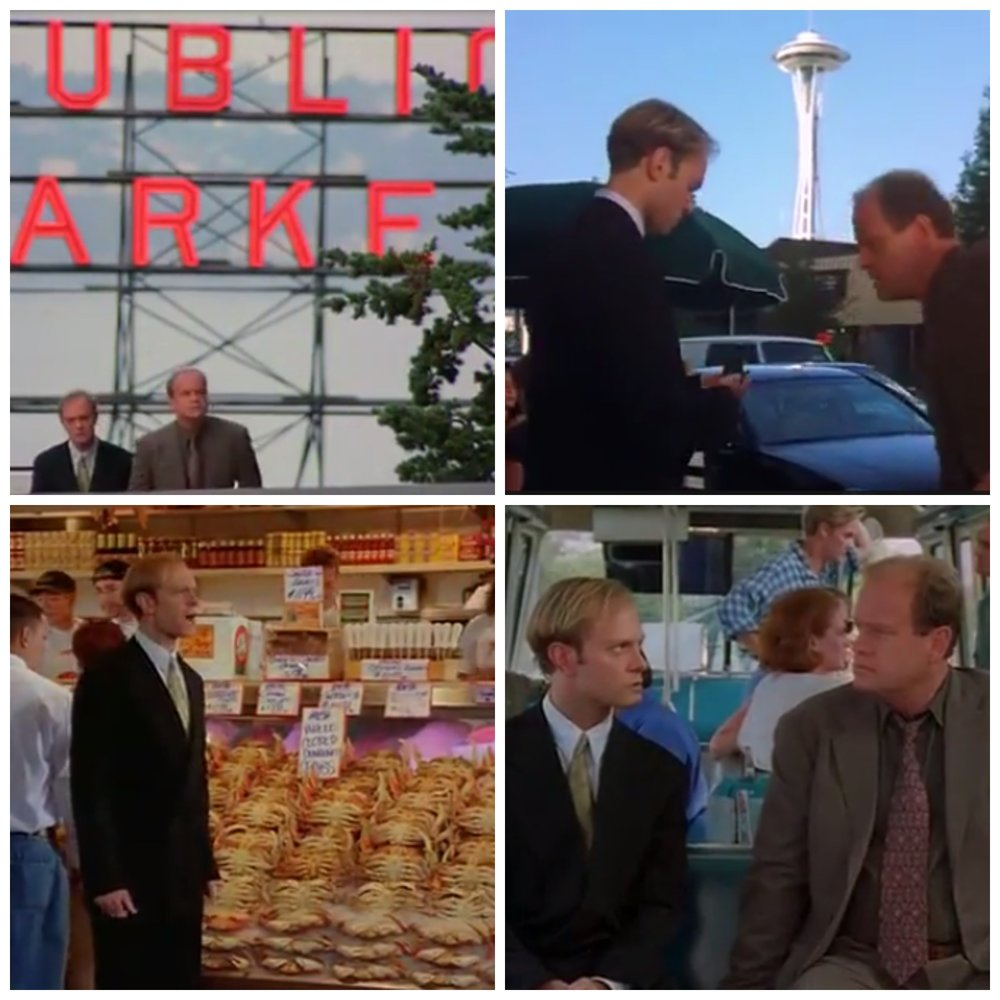 "Frasier's tour around Seattle. Top Left: Famous ""Public Market"" sign at Pike Place Market, Top Right: Space Needle, Bottom Left: Pike Place Fish, Bottom Right: Riding the Monorail"