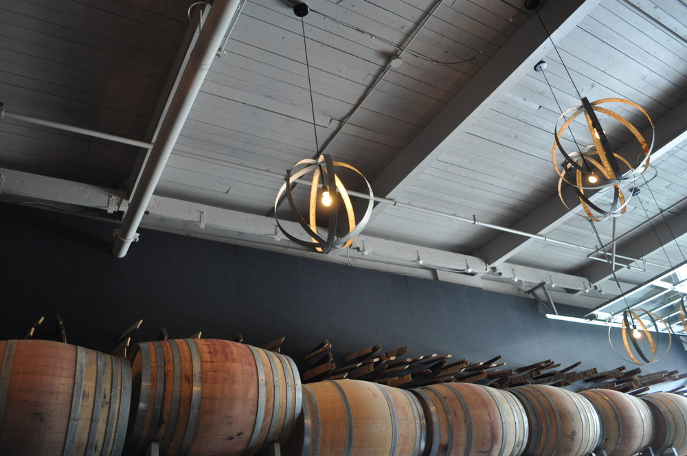 Deconstructed barrels are repurposed at Kerloo Cellars' tasting room in SoDo.