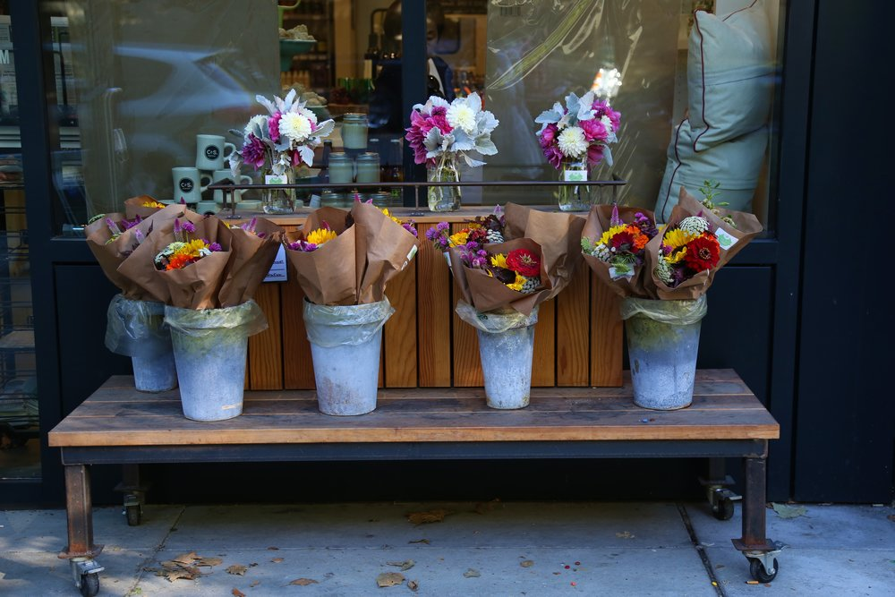 Fresh flowers are available when they are in season.