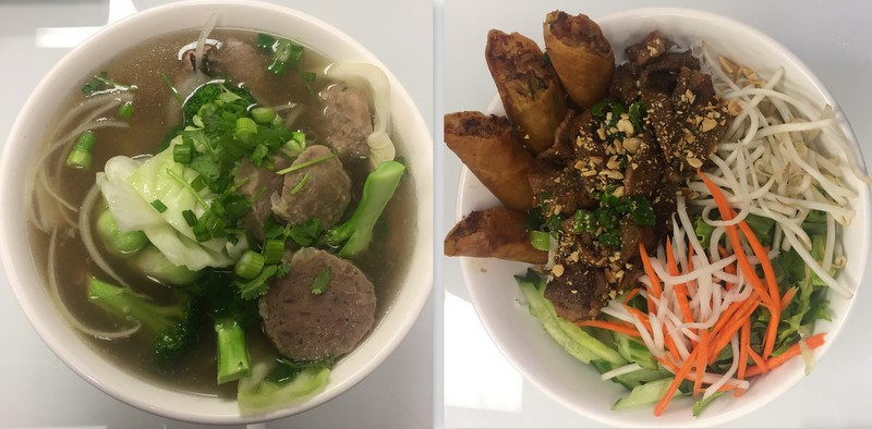 Beef and Meatball Pho/Pork Bun Cha with spring rolls