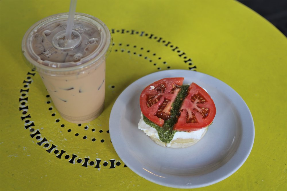 Tomato and pesto crumpet at The Crumpet Shop
