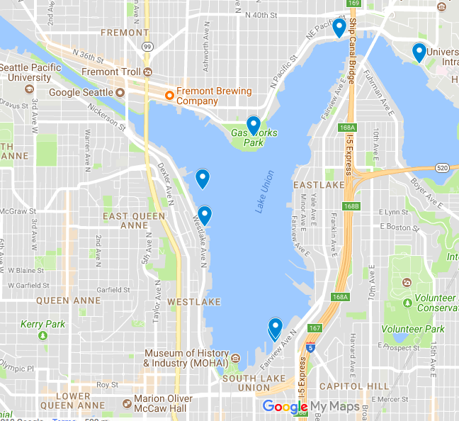 Map of Kayak Tour Lake Union Seattle