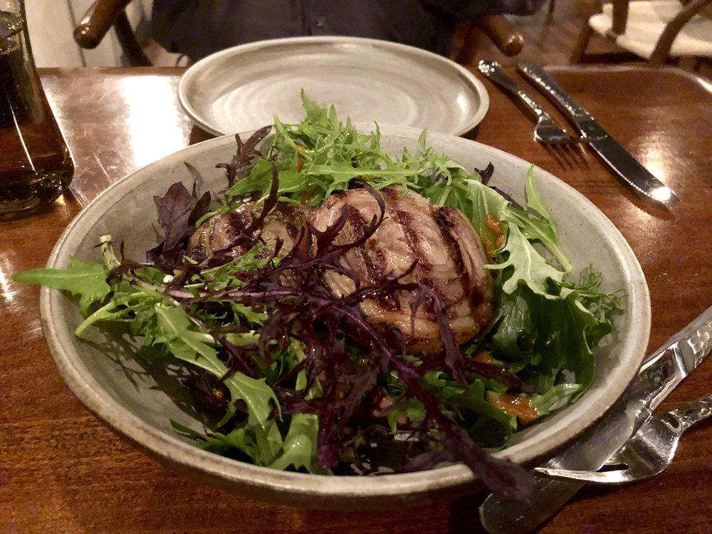 Lamb leg, roasted koji, daikon & mustard greens at Ursa Minor