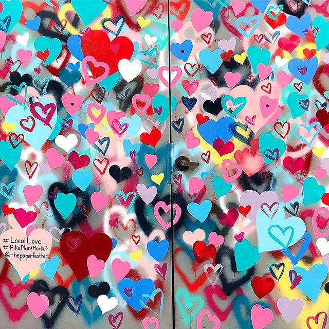 Sending lots of love your way on Valentine's Day! Be sure to pass it along to all the special people in your life today. 💗 Photo taken at @pikeplacepublicmarket of one of their new murals on Western Ave.