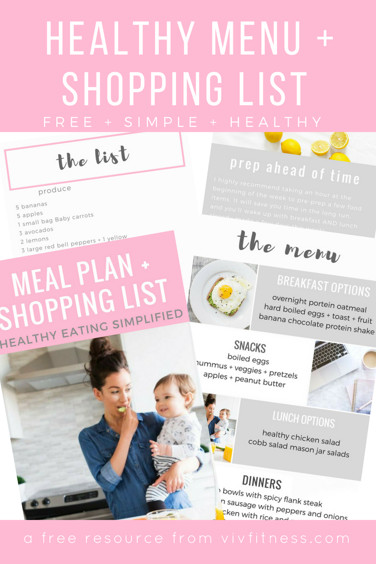 Healthy menu and grocery list for the busy mom