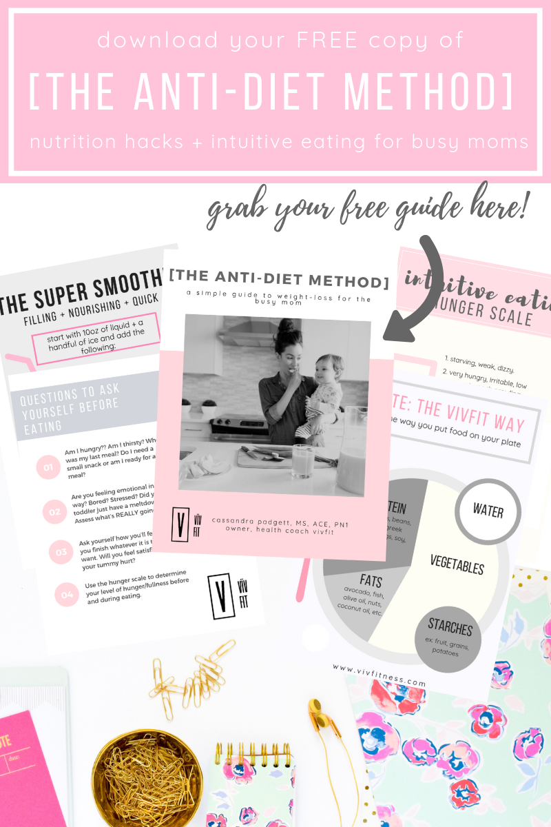 Free ANTI-DIET METHOD printables to simple weightloss, postpartum nutrition, intuitive eating and more