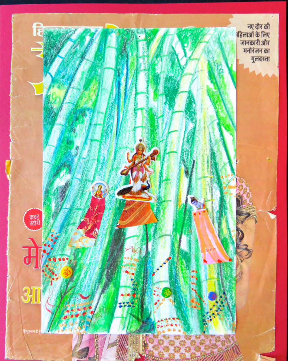 sacred bamboo trees with dresses & deities