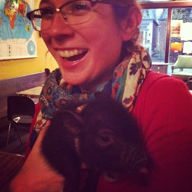 Lauren and Nico the pig circa 2012.