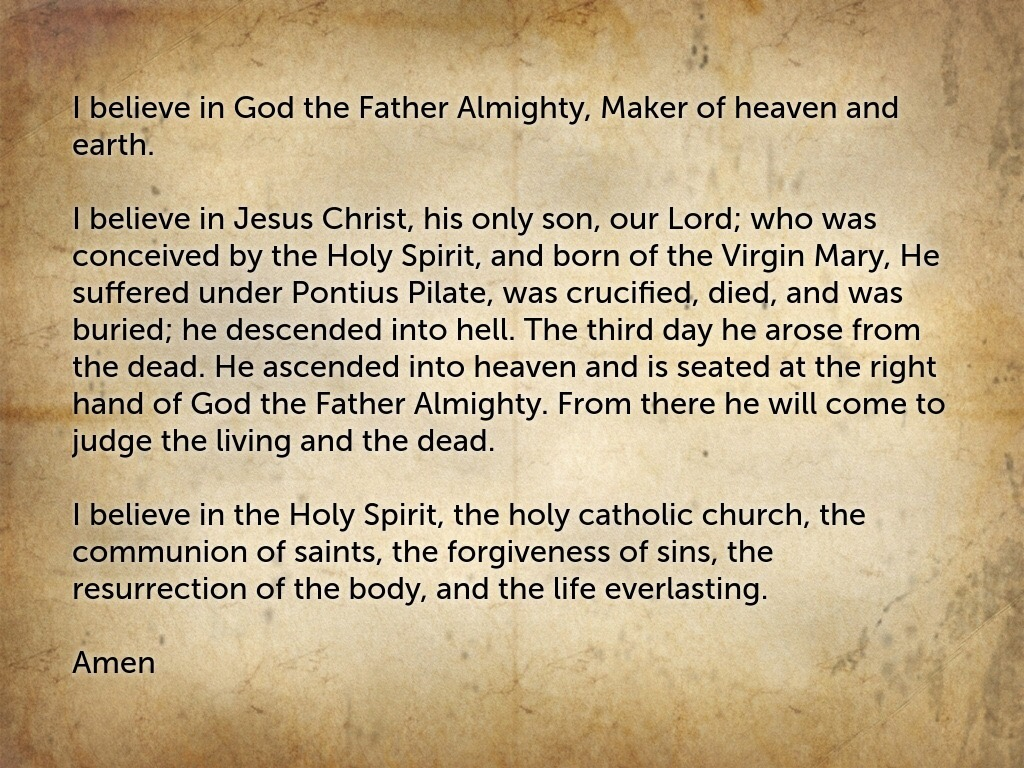 the apostles creed Where is the apostles creed found in the bible the apostles creed is a statement of catholic beliefs, but where is it found in the bible.