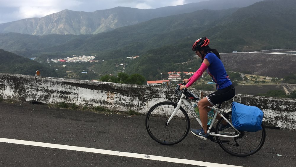 Cycling over a central mountain range in Taiwan