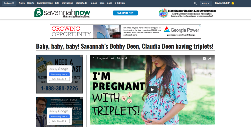 Savannah Now - Digital - Baby, Baby, Baby! Savannah's Bobby Deen, Claudia Deen having triplets!September 2018