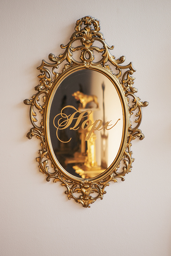"""Hope""   Mirror, gold vinyl, spray paint  33"" x 21"""
