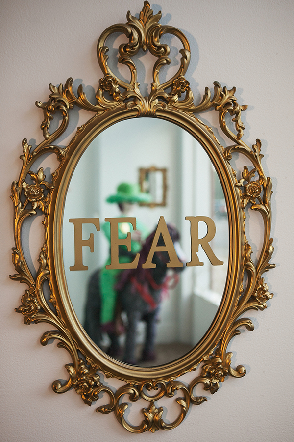 """Fear""   Mirror, gold vinyl, spray paint  33"" x 21"""