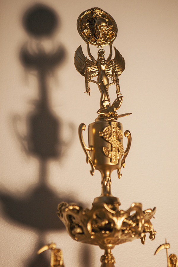 """Trophy #2 -- Immigration, Death, Cartel, Wealth, and Santa Muerte"" (detail)"