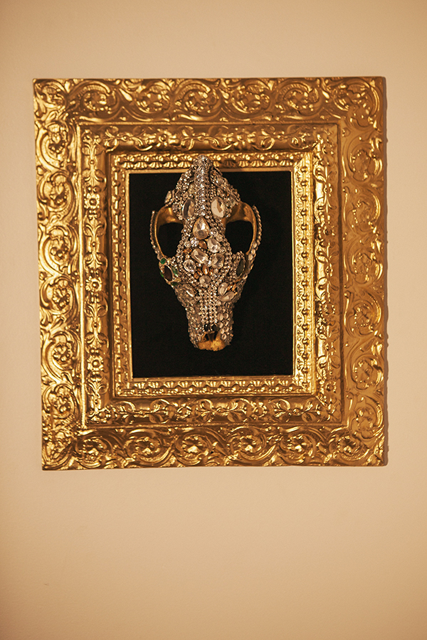 """Beguiled and Bejeweled #1""   18"" x 16"", skull 9"" x 5"""