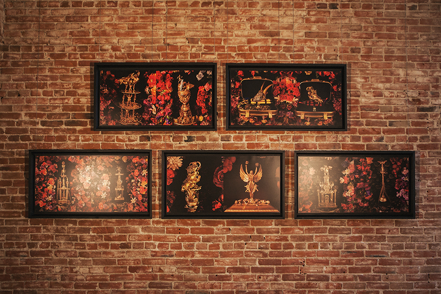 """Trophies and Flowers Performing for Desire and Addiction #1-5""  Mixed media montage photographed   21 1/2"" x 41 1/2"" unframed, 25"" x 45"" framed  2016"