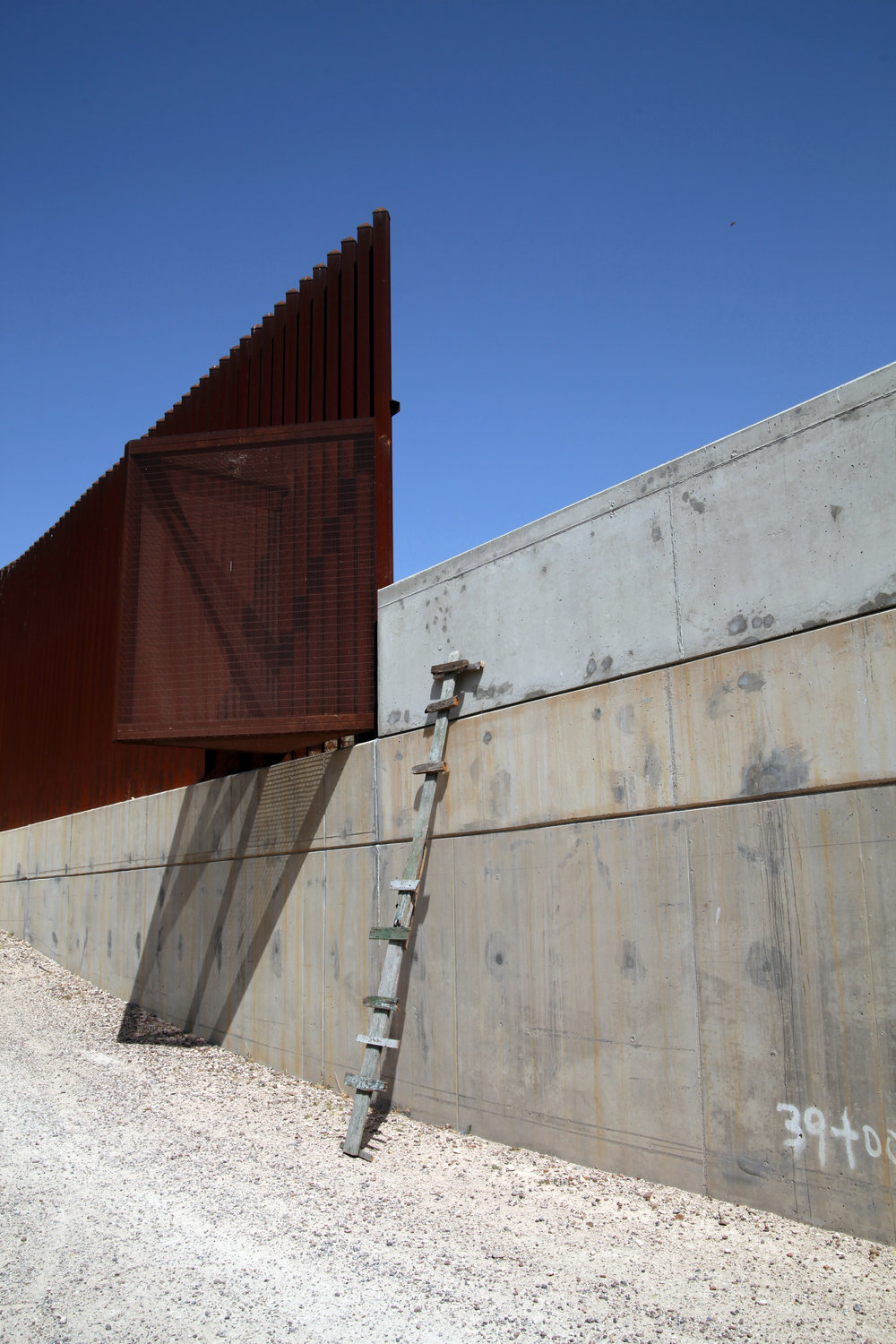 """25' Wall and a 25' Ladder""  Photograph of Installation at U.S.A / Mexico Border  2016"