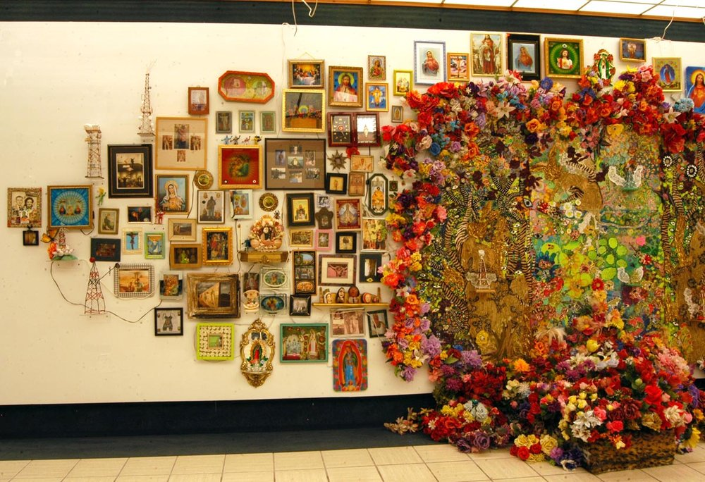 """The Wall"" left side   Mixed media, Recycled flowers from graveyards in Mexico   Variable dimension"