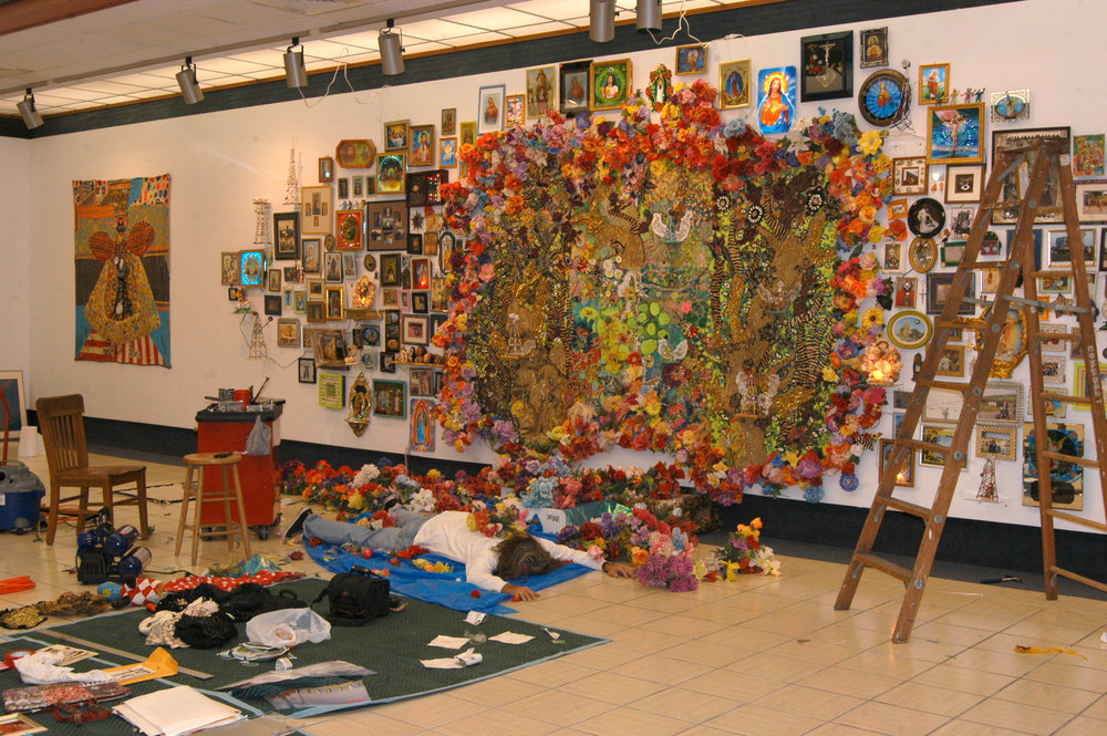 """The Wall"" installation shot   Mixed media, Recycled flowers from graveyards in Mexico   Variable dimension"