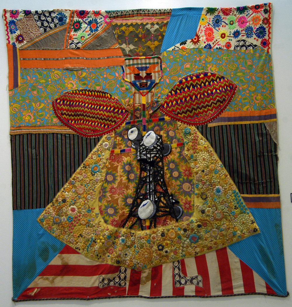 """Queen and Satellite""  Mixed media on fabric  Variable dimensions  2010"