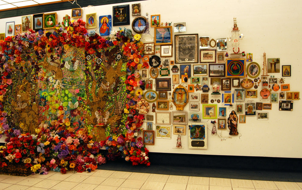 """The Wall"" right side   Mixed media, Recycled flowers from graveyards in Mexico   Variable dimension"