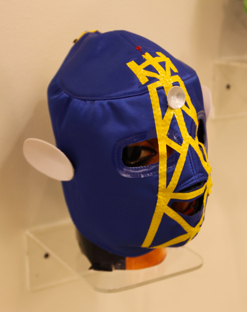 """Blue Yellow Satellite Mask""  Mixed media"