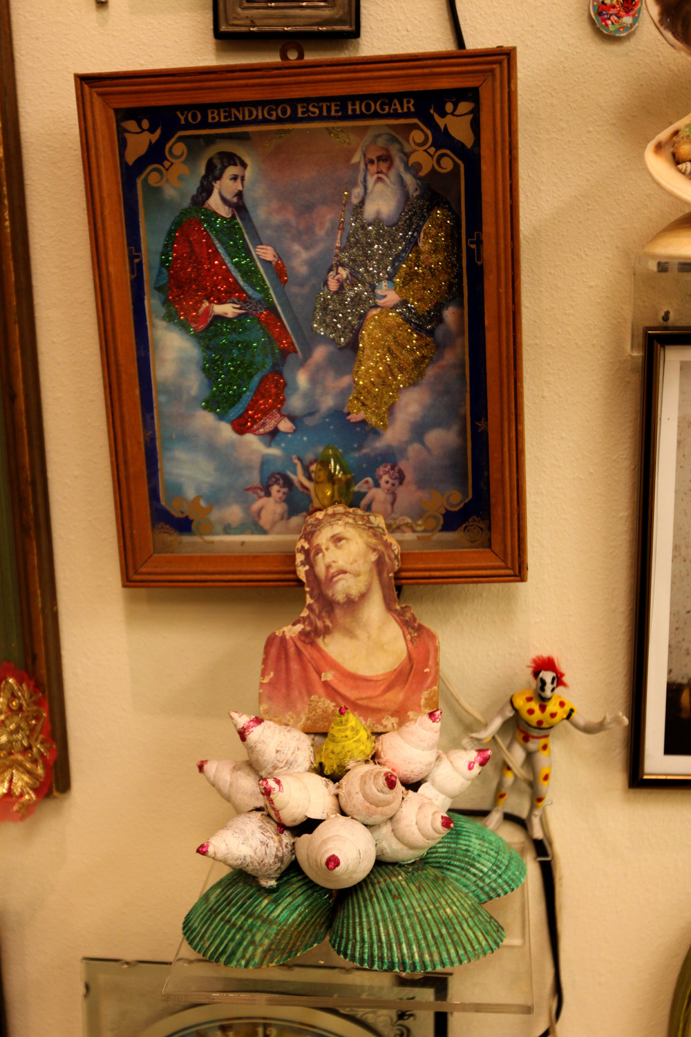 """Christ Glitter and Shells""  Installation view"
