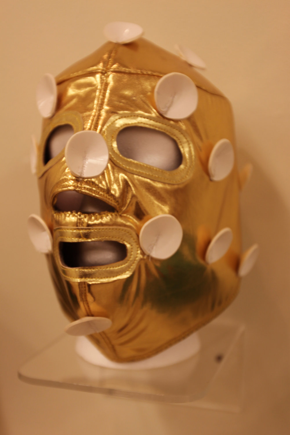 """Golden Satellite Mask""  Mixed media"