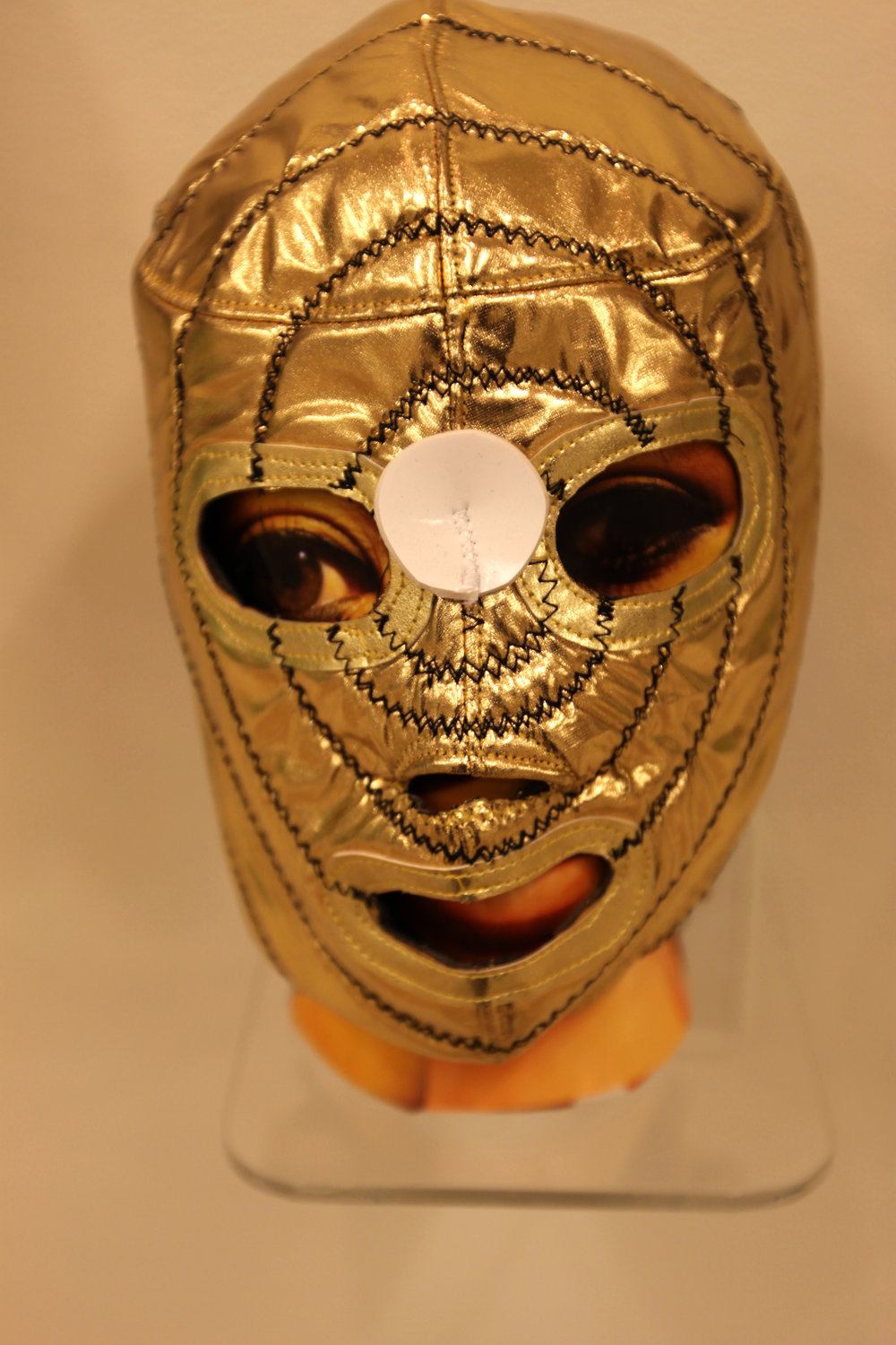 """Golden Girl Mask""  Mixed media"