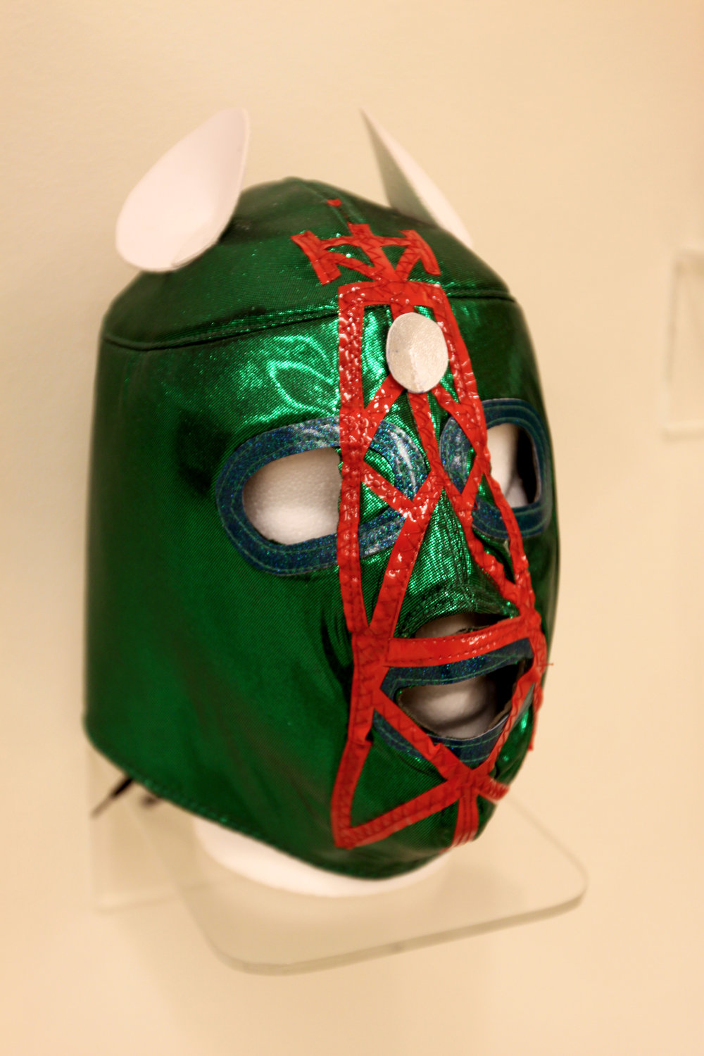 """Santa II Wrestling Mask""  Mixed media"